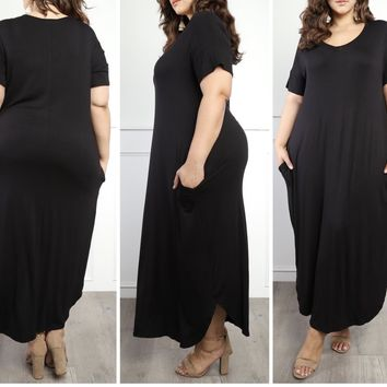 New V Neck Curved Hem Slit Maxi Dress
