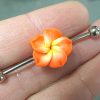 Orange Hawaiian Flower Industrial Bar Barbell Piercing Upper Ear Ring