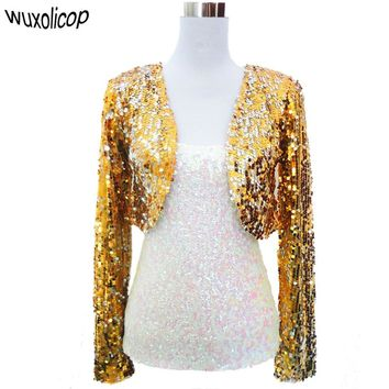 Women Cropped Blazer Bolero Shrug Club wear Party Costumes Shiny Sequin V Neck Short Vest Sexy Shrug Cardigan Jacket