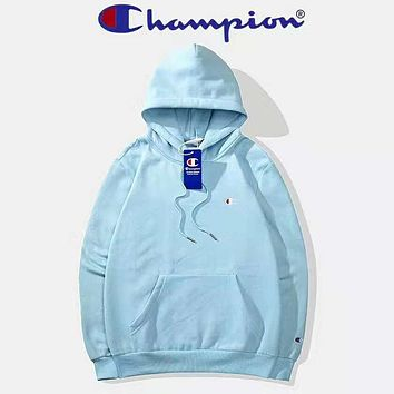 Champion Autumn And Winter High Quality New Fashion Bust Embroidery Logo Women Men Hooded Long Sleeve Sweater Top Light Blue