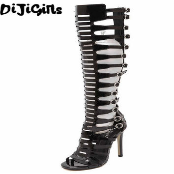 2017 sexy womens party clubwear fetish gladiator rome patent leather buckle strappy cage knee high boots summer sandals open toe