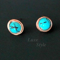 Turquoise Stud Ear Rings Copper Met.. on Luulla