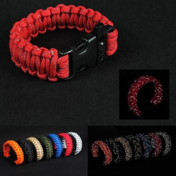 Outdoor Sports Hunting Camping Hiking Paracord Whistle Survival Bracelet Braided Rope Reflective Wrist Band First Aid Kits