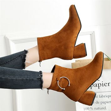 Women Simple All-match Fashion Suede Round-toe Rough Heel Short Boots Heels Shoes