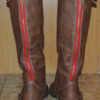 Brown Boots w/ Red Zipper