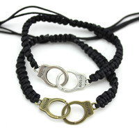 2pcs get 8% off Hot Sale New Fashion Punk Rock Alloy Handcuff Bracelets For Wowen Gifts For Friends B2-241