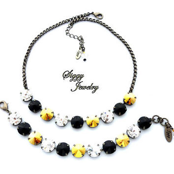 Swarovski Crystal Necklace, 12mm Jet Black, Gold Metallic Sunshine, Clear, Game Day Jewelry, Pittsburgh Steelers Colors, Assorted Finishes