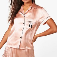 Riley 'R' Embroidered Satin Shirt & Short Set | Boohoo