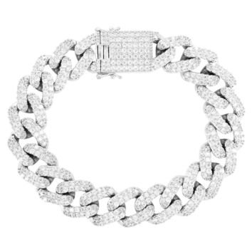 Men's 15mm Square Links Box Lock Miami Cuban Bracelet