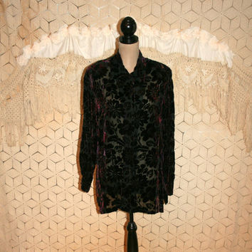 Dark Purple Bohemian Burnout Silk Velvet Blouse Hippie Boho Top Sheer Oversized Long Sleeve Button Up Tunic Shirt Large XL Womens Clothing