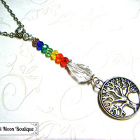 Chakra Beaded Necklace Yoga Healing Meditation Jewelry Crystal Wiccan Pagan Spiritual Metaphysical Celtic Tree of Life Vikings Nordic Spirit