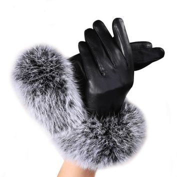 JECKSION woman fashion Lady Black PU Leather Gloves Winter Warm Rabbit Fur female gloves Guanti invernali donna #LYW
