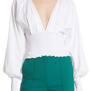 DVF Smocked Cotton Deep V Top | Nordstrom