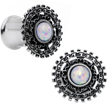 0 Gauge White Faux Opal Steel Finely Framed Double Flare Plug Set