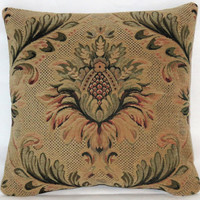"""Floral Medallion Chenille Pillow Small 13"""" Square in Teal Green Gold Rust Tan Vintage Tapestry Verdure Look Luxurious Manor Style Ready Ship"""