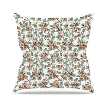 """Suzanne Carter """"Vintage Flowers"""" Green Floral Outdoor Throw Pillow"""
