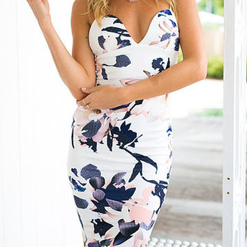 White Floral Print Cami Midi Dress