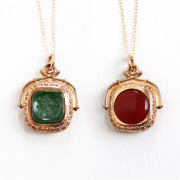 Antique Rose Gold Filled Double Sided Fob Charm - Carnelian & Simulated Chrysoprase Red, Green Stone Intaglio Cameo Necklace Jewelry Pendant