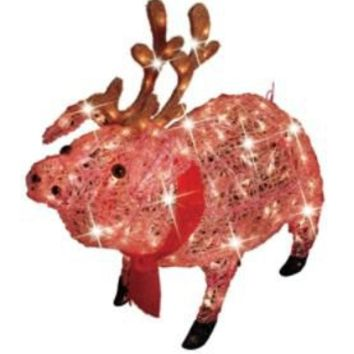 30in icy lighted christmas pig with antlers trim a home seasonal christmas outdoor de