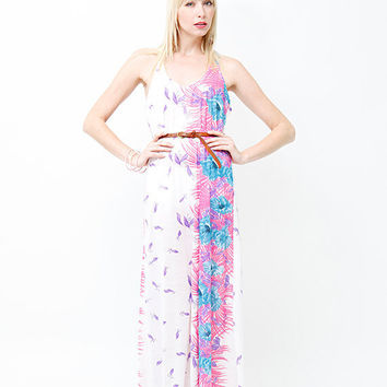 Long Hawaiian Print Maxi Dress with Racer Back by TammyJoFashion