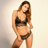 Sexy Cute On Sale Hot Deal Hot Sale Lace Hollow Out Patchwork Lingerie Set Exotic Lingerie [312185651241]