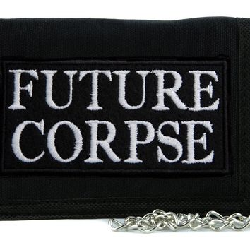 Future Corpse Tri-fold Wallet with Chain Occult Horror Dead Undead