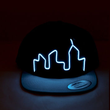 "El Wire Snapback Blue ""City"" Hat - Perfect for: Electric Zoo, EDC, Coachella, Ultra, Electric Forest, Rave Clothing, Club Wear, EDM Clothing"
