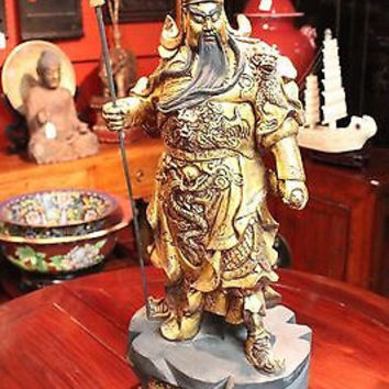 Beautiful Vintage Wooden Hand Carved Kwan Kung Guan Gung Statue Figurine 24""