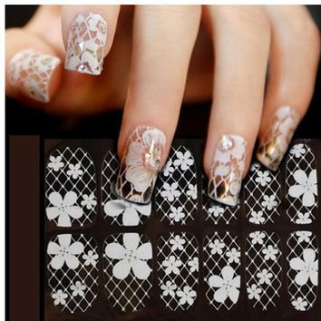 Sliders for Nails 3D Lace Nail Art Wraps Flowers Nail Stickers and Decal Manicure Set Sliders for Nail Design Wraps ZJT0023