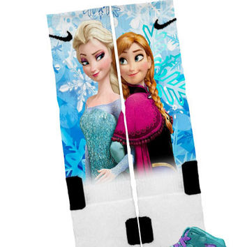 "Nike Elite Socks ""Frozen Elsa & Anna"" + FREE SHIPPING - by Bandana Fever"