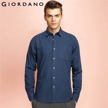 Men Shirt Chambray Blouse Long Sleeves Shirt Cotton Men Turn-down Collar Blouse