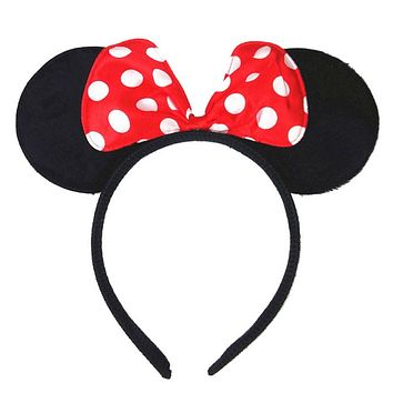 Kids'Black Minnie Mouse Ears Headbands Handmade Dots Hair Bow Hairbands Hair Hoop Cute Girls' Photography Props Hair Accessories