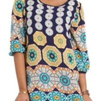 Millibon Medallion Print Shift Dress in Navy D2121B