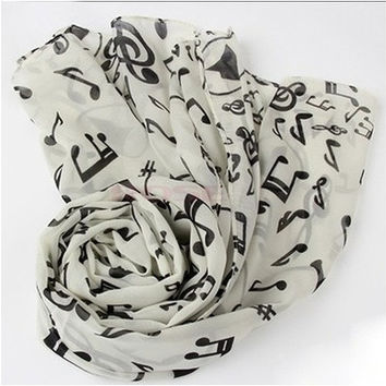 New Fashion Shawl Wrap Korean Style Women Scarf Music Note Printed Lady Chiffon Silk Scarf SV011276|27701 Apparel & Accessories [8833465740]