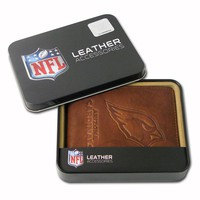 Arizona Cardinals Leather Bifold Wallet (Brown)