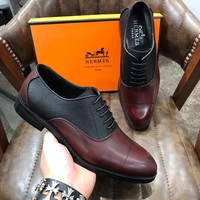HERMES Men Casual Shoes Boots  fashionable casual leather