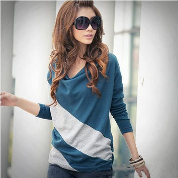 hot selling!New Women Long Sleeve 4 Colors Batwing Casual T Shirt Tops Stripe Blouse = 1945995396