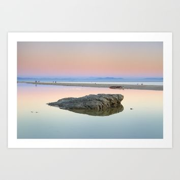 """Walking...."" Pink sunset at the sea. Art Print by Guido Montañés"