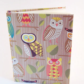Owls Handbound Book Journal or Notebook - Hand Bound in a Coptic Stitch Opens Flat Sketchbook