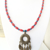 Dream Catcher Jewelry, Red and Blue Gypsy Style Beaded Necklace, Feather Charm, Hippie Jewelry