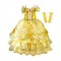 Beauty & The Beast Belle Princess Girl's Dress and Gloves Costume Set Sizes 4-9yr Express Delivery Before Halloween!