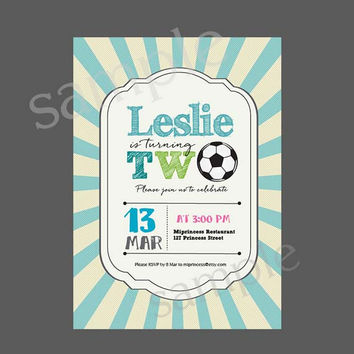 Football Birthday Invitation one or two birthday invitation Party invitation invite Fun Happy party Invitation Card Design - card 44