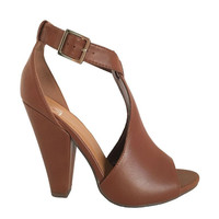 Step Up Heels In Cognac Brown