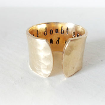Personalized Cuff Ring, Custom Ring, Engraved Ring, Brass Ring, Do not doubt yourself, see the end result /Personalized Gift