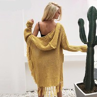 Hooded Fringe Cardigan