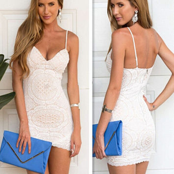 Lace Spaghetti Strap Sleeveless Backless Short Dress