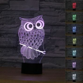 OWL 3D LED Lamp With 7 Changable Colors
