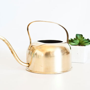 Vintage Solid Brass Watering Can, Small Coppercraft Guild Gold Tone Small Watering Can for Indoor Gardens and Plants, Cacti Succulents