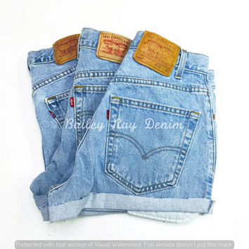 Levis Shorts - High Waisted bleached Cutoffs Denim Cheeky - All Sizes xs s m l xl xxl