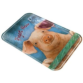 Pignot Pigot Noir Funny Wine Pig All Over Glass Cutting Board